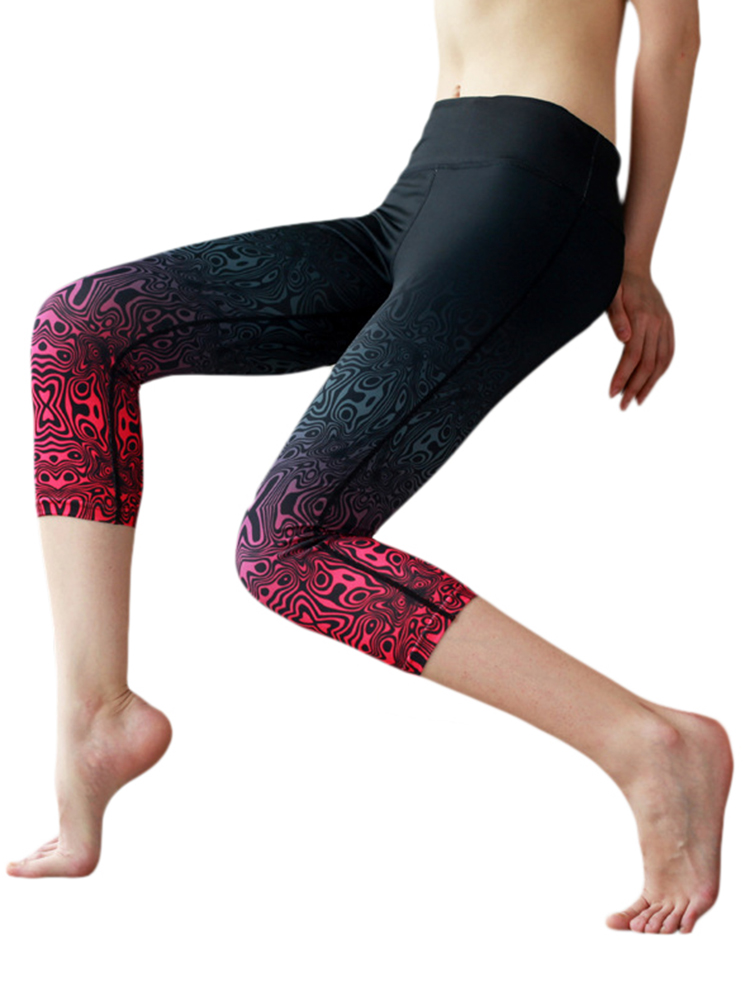 Women Sport Gradient Printed Skinny Yoga Capri Pants Leggings