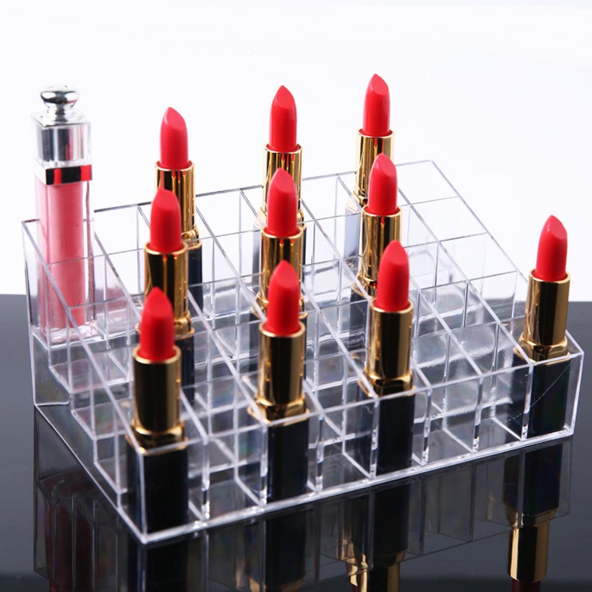 40 Clear Acrylic Lipstick Holder Stand Display Cosmetic Makeup Case Acrylic Cosmetic Organizer