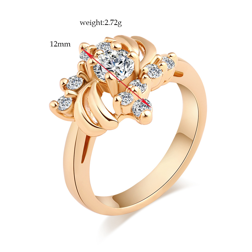 Trendy Flower Gold Rings Luxury Zirconia Ring Wedding