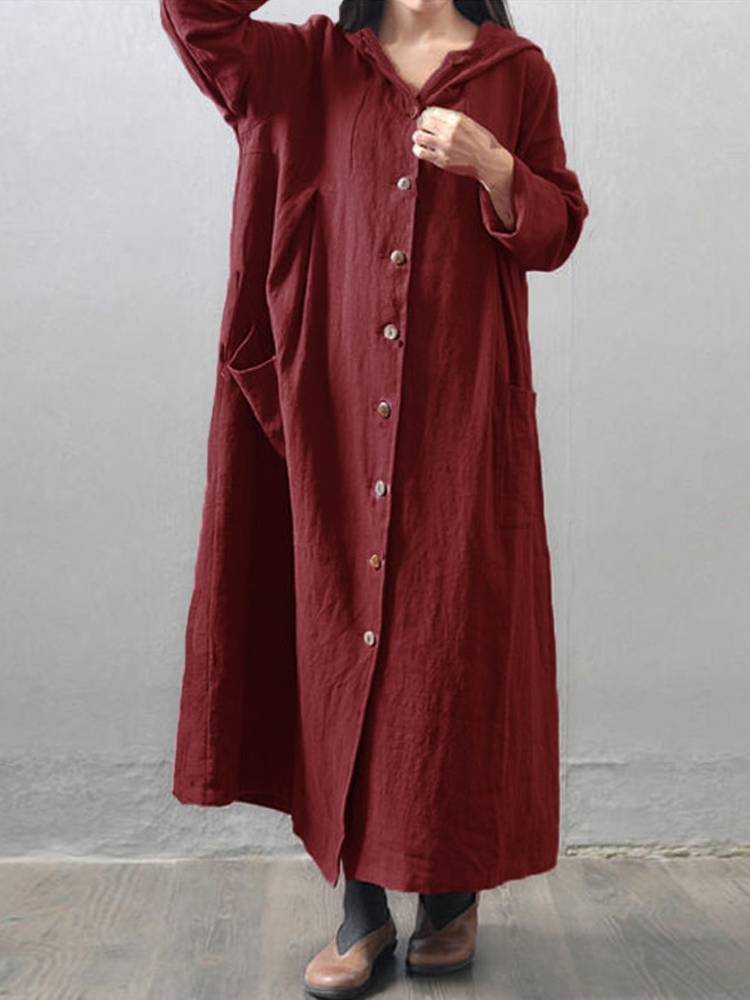 Women Vintage Hooded Buttons Pockets Casual Maxi Coat
