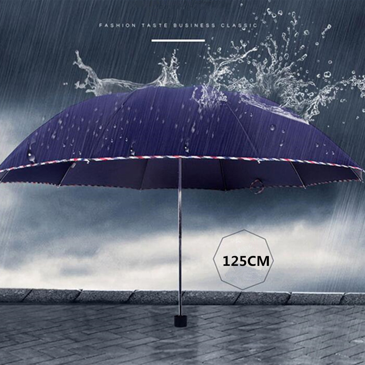 Big Oversize Folding Windproof Strong Wind Rain Umbrella UV Resistance Cover