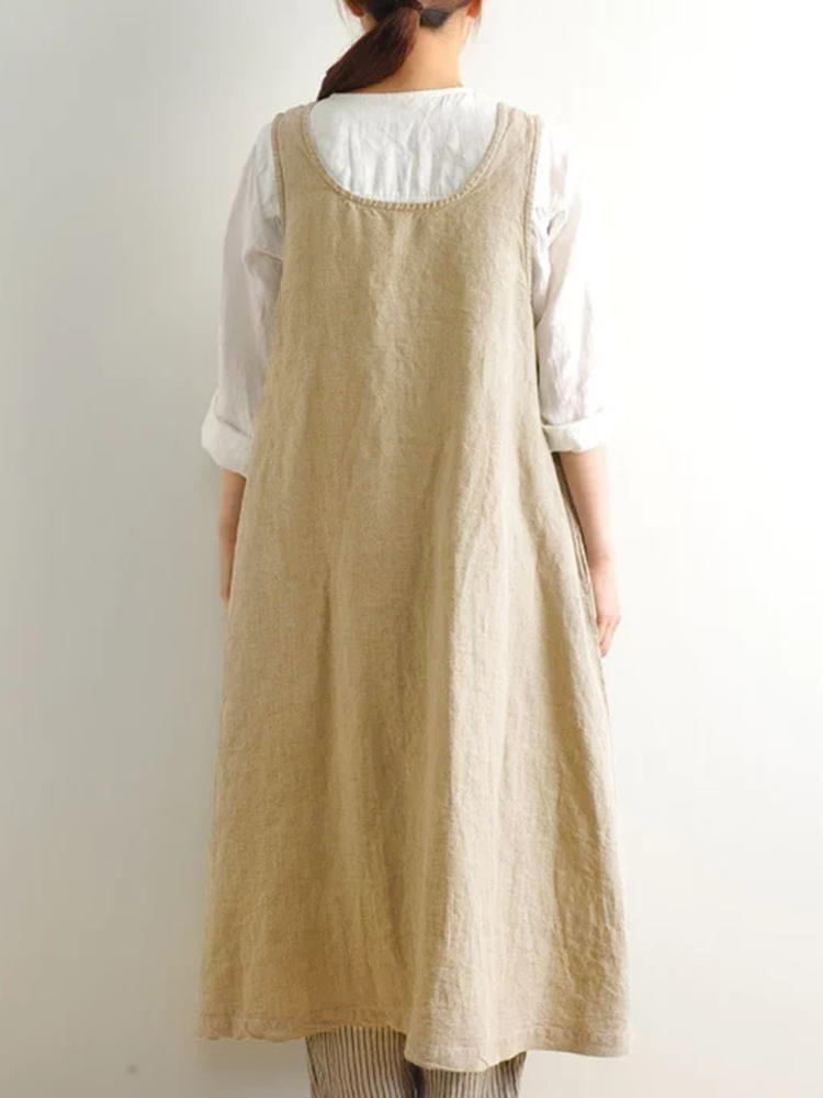Women Multi-wear Japanese Style Cotton Solid Apron Dress