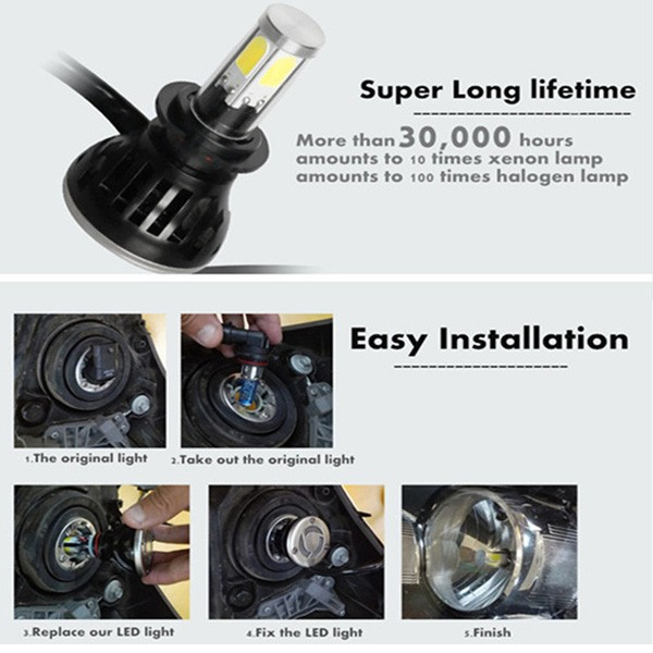 G5 Car Headlight COB 8000LM 80W 360 Angle White 6000K H4 H7 H13 9006 9005 DC 9-36V Waterproof IP68