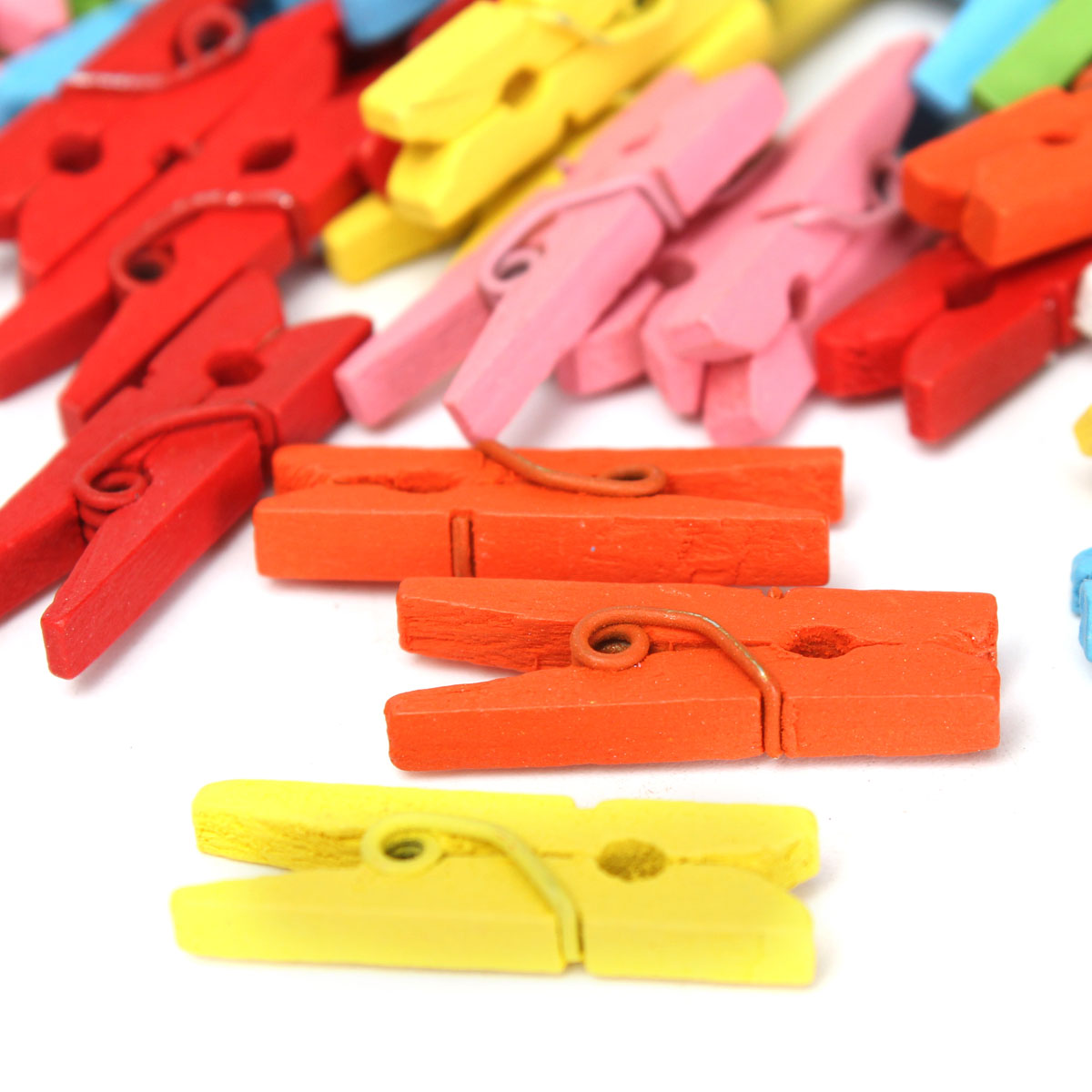 100Pcs Mini Wooden Craft Pegs Clothes Peg Paper Photo Hanging Spring 25mm Decorations