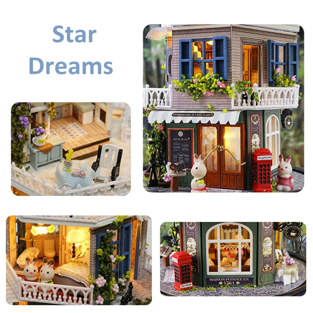 DIY Music Small Doll House Miniature Kit Rotating Box With Dust Cover Kids Gifts