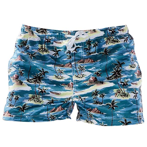 SEOBEAN Mens Summer Hawaiian Style Coconut Trees Printing Fashion Beach Shorts Surf Swimming Trunks