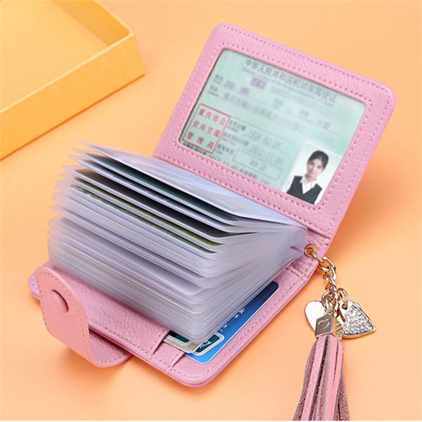 Women Genuine Leather Card Holder Tassel Purse