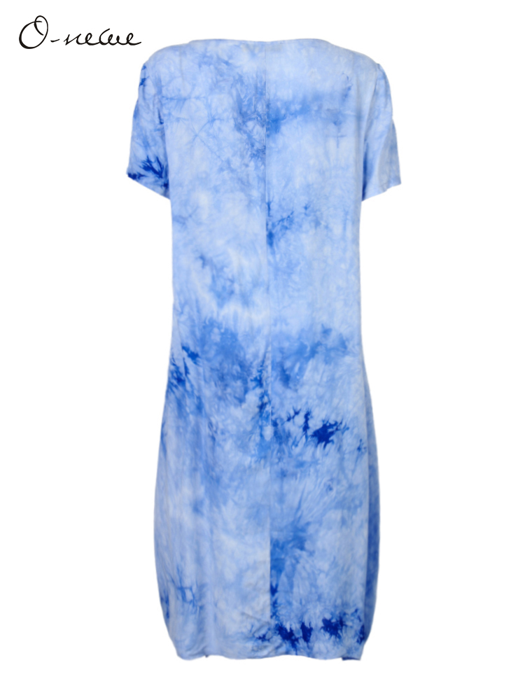 Loose Folk Style Women Summer Gradient Tie-dyed Lantern Dress