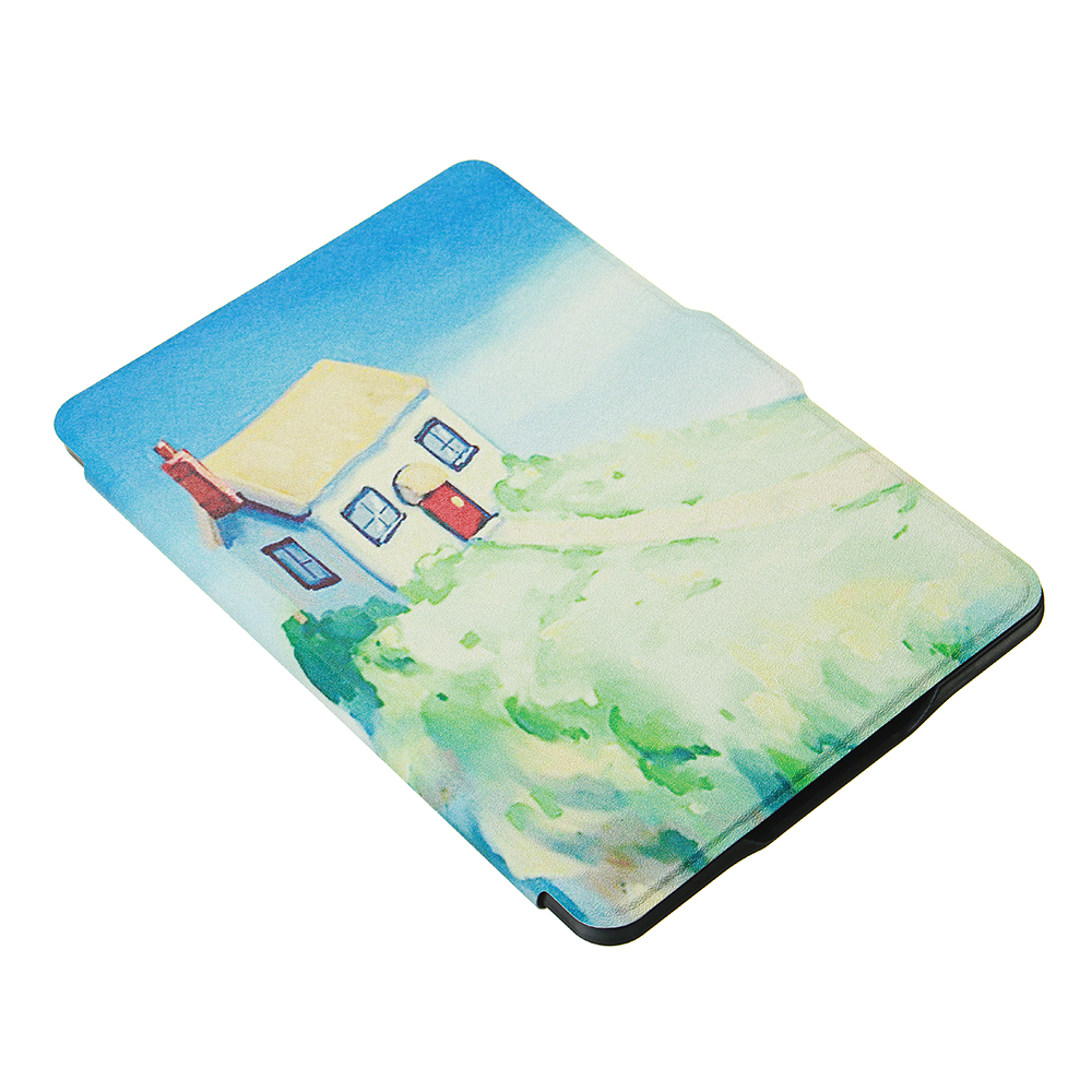 ABS Plastic Dream House Painted Smart Sleep Protective Cover Case For Kindle Paperwhite 1/2/3 eBook Reader
