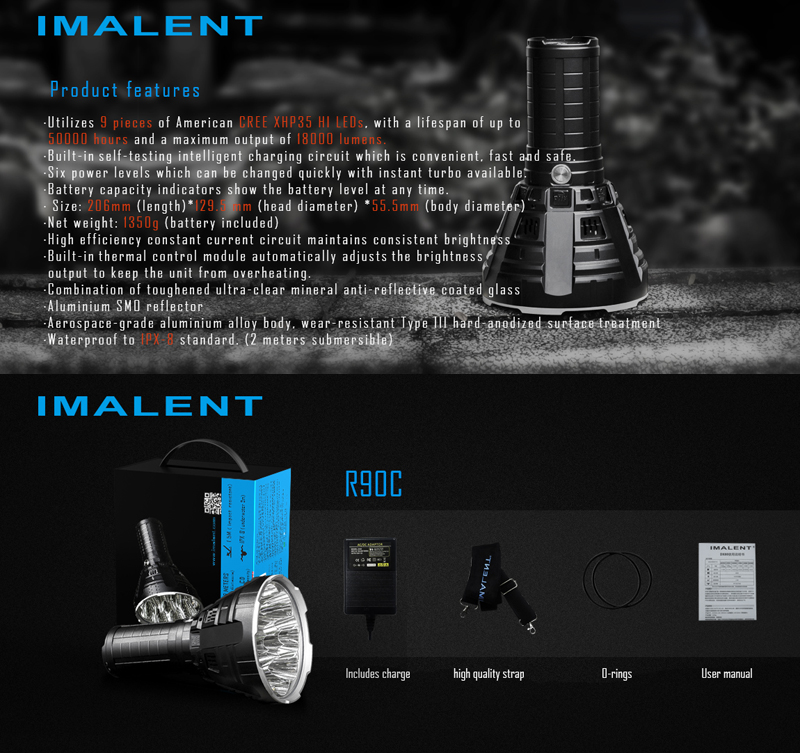 Imalent R90C 9 x XHP35 HI 20000Lm 7Modes IPX8 Waterproof Long Searching Easy Operation LED Flashlight 4 x 20700/4300