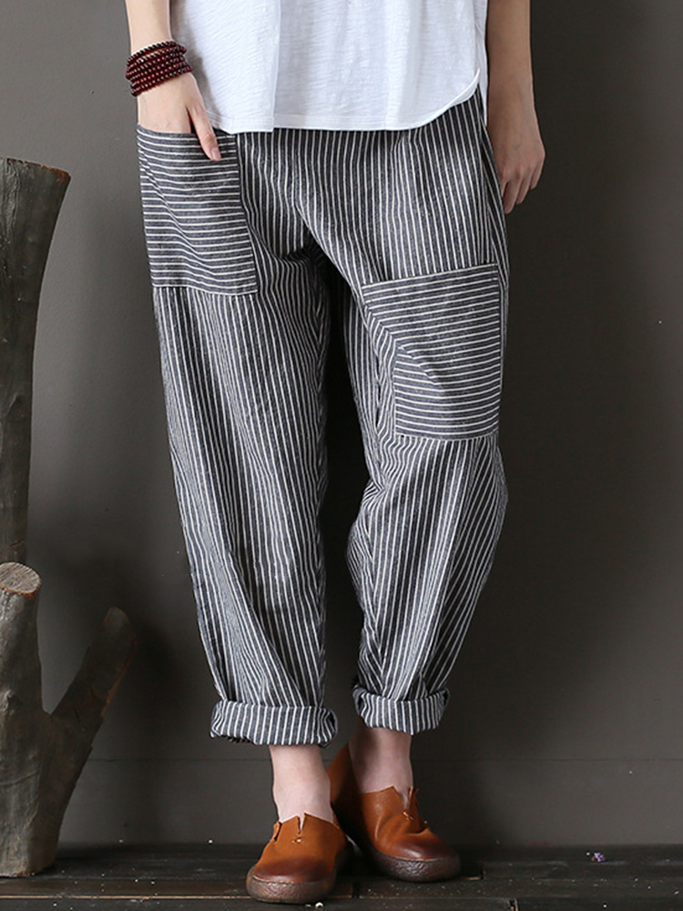 M-5XL Women Stripe Elastic Waist Harem Pants