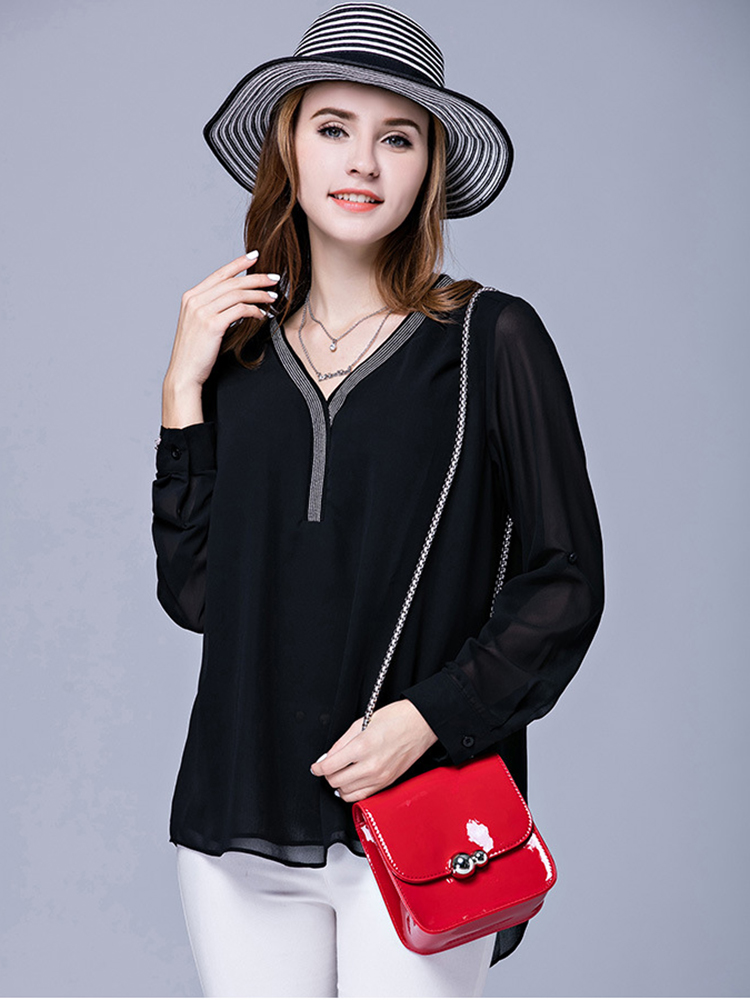 Elegant Women V Neck Black Beading Patchwork Chiffon T-shirt