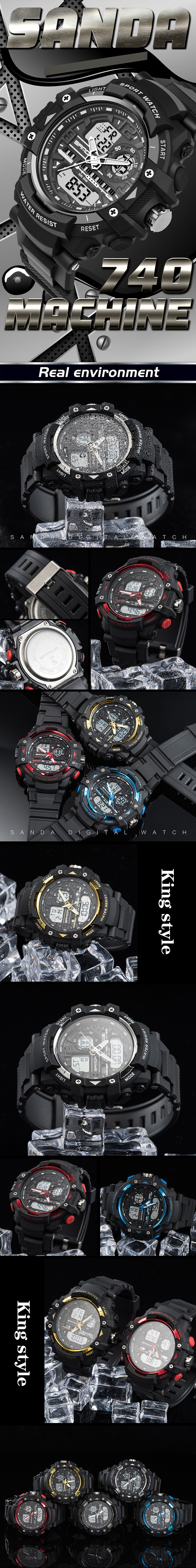SANDA 740 Fashion Men Dual Display Watch Multifunction Swimming Diving Sport Watch