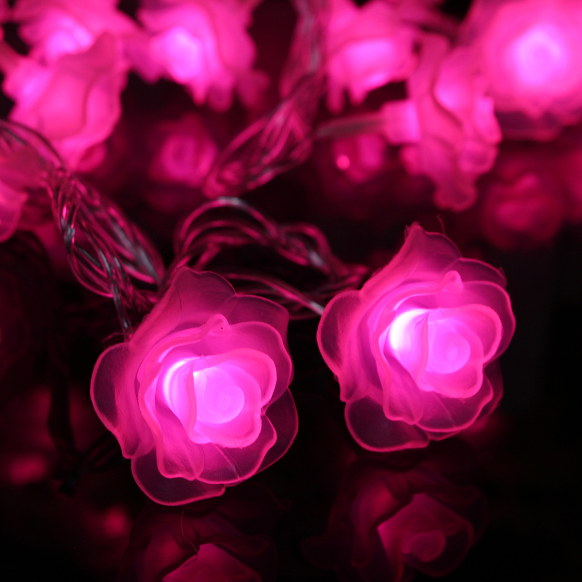 10M 100LEDs 8 Modes Pink White Rose Flower Fairy String Light for Christmas Patio AC220V
