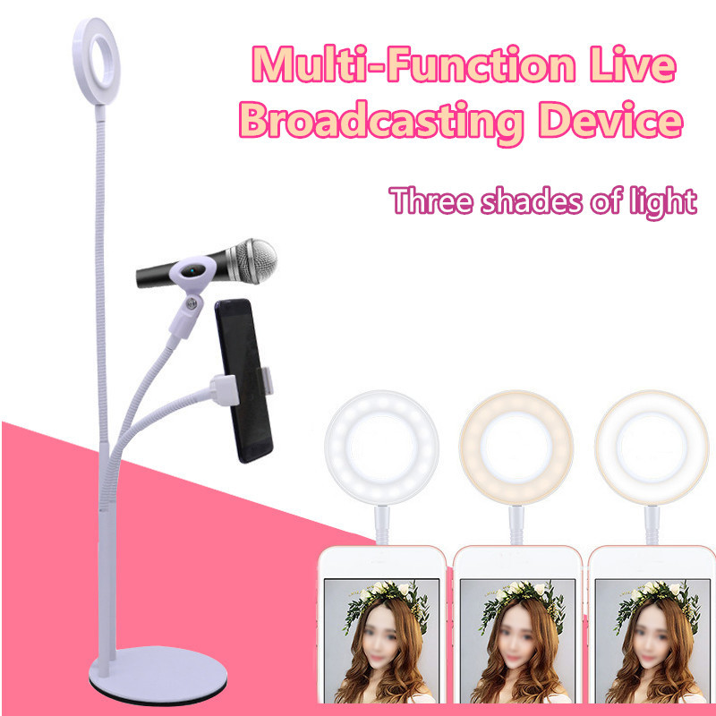 3 in 1 Live Streaming Adjustable Fill Light Microphone Clip Desktop Phone Holder for Mobile Phone
