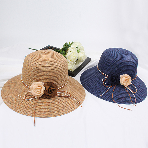 Women Folding Woven Wide Brimmed Bucket Hat Dress Visor