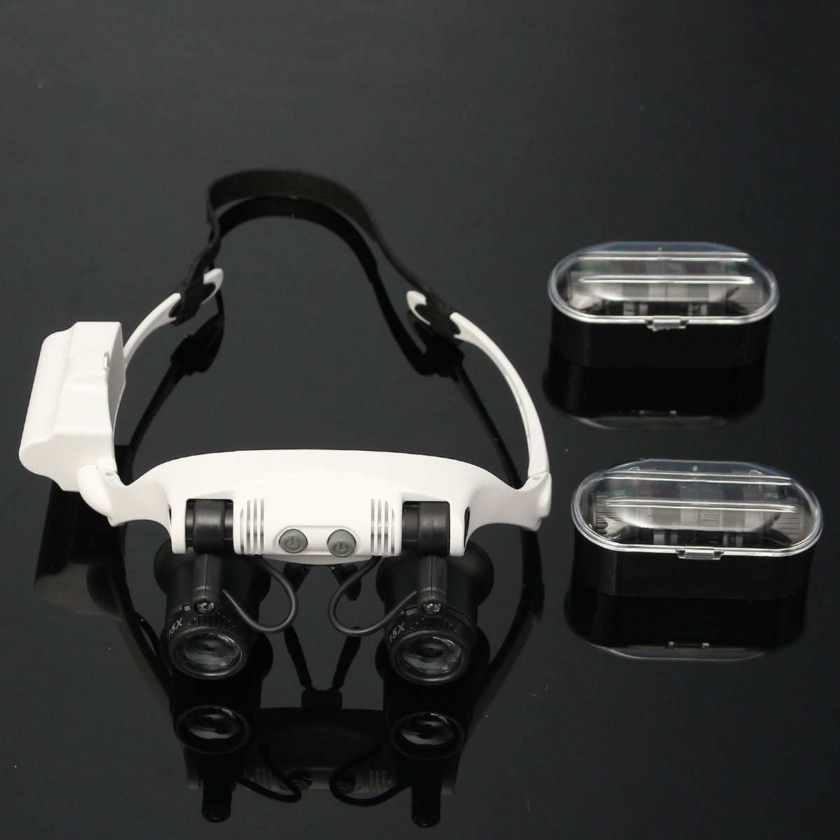DANIU Portable Head Wearing Magnifying Glass 10X 15X 20X 25X LED Double Eye Repair Magnifier Loupe