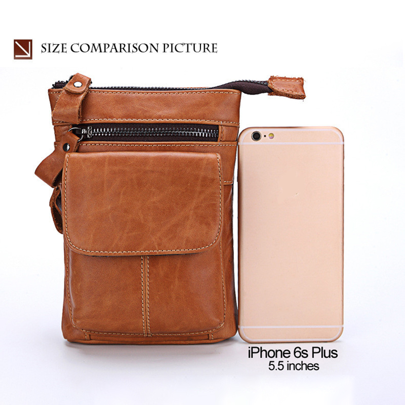 Men PU Leather Large Capacity Phone Pouch Crossbody Bag Waist Bag for iPhone Xiaomi Mobile Phone