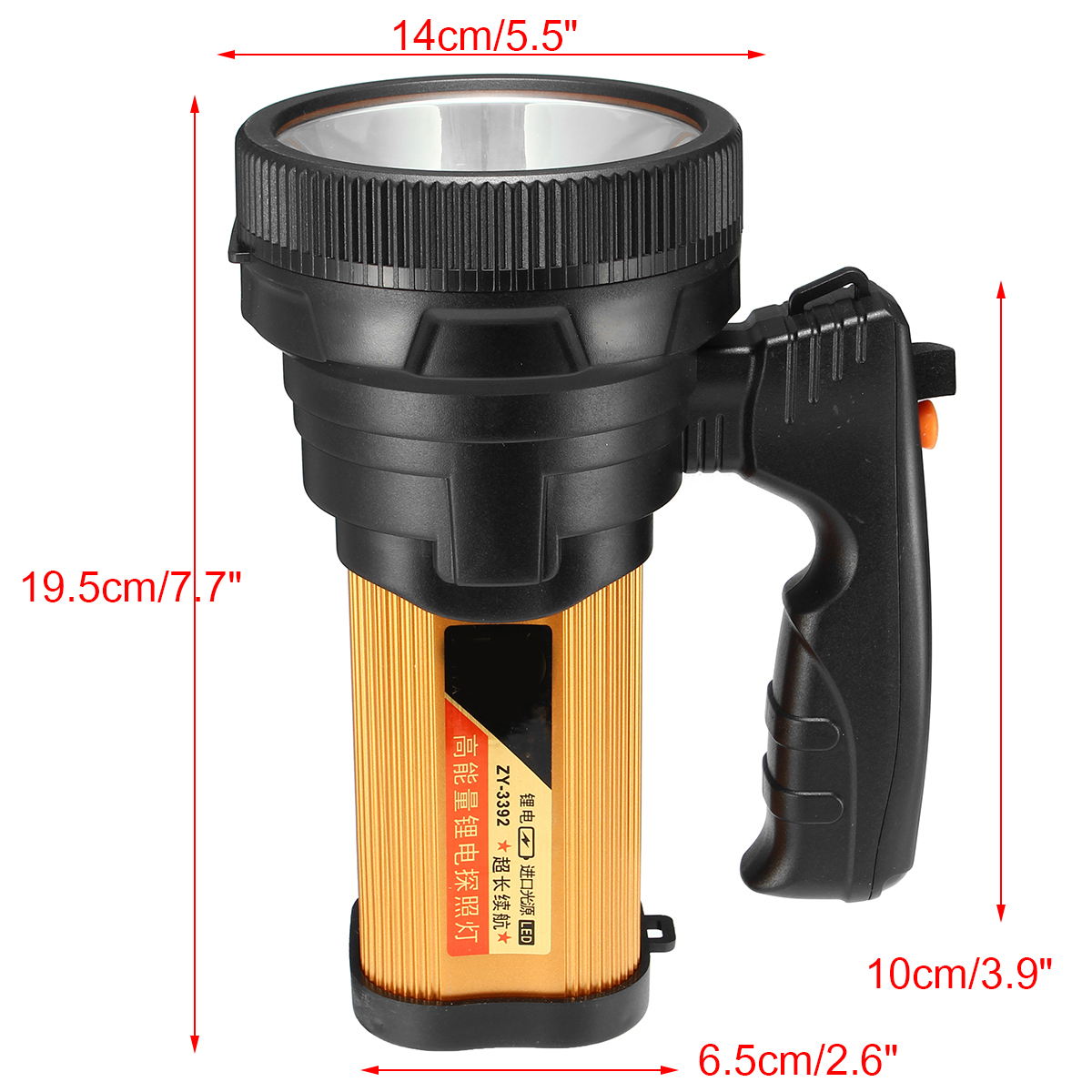 Super Bright Handheld Design Portable Spotlight USB Rechargeable Searchlight LED Flashlight