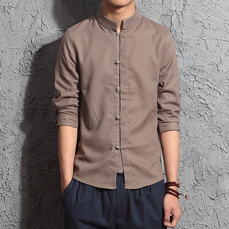 Mens Chinese Style Three Quarter Sleeve Casual Linen Shirts