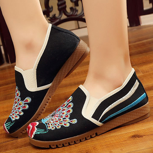 Women Loafers Flower Slip On Comfy Flat Casual Shoes