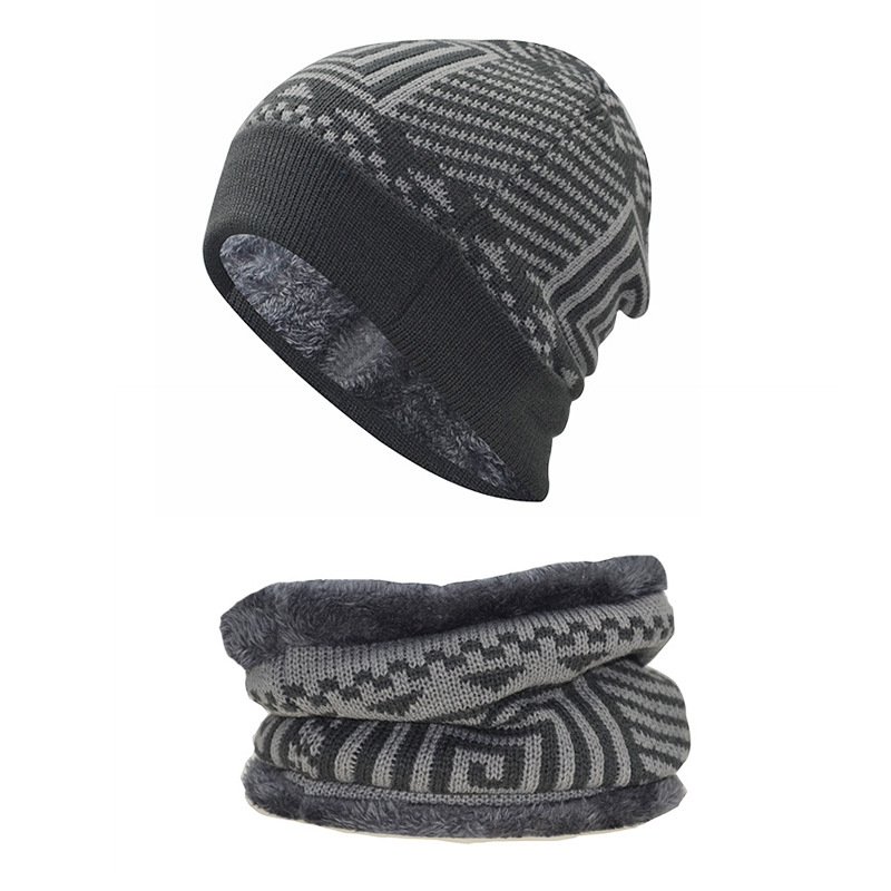 Men Women Lined Velvet Checkered Stripes Knit Skullcap Set