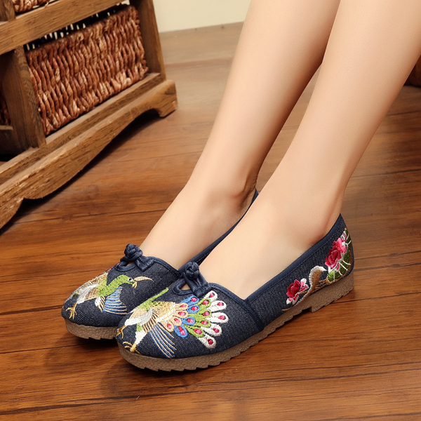 Peacock Chinese Embroidered Casual Slip On Flat Loafers