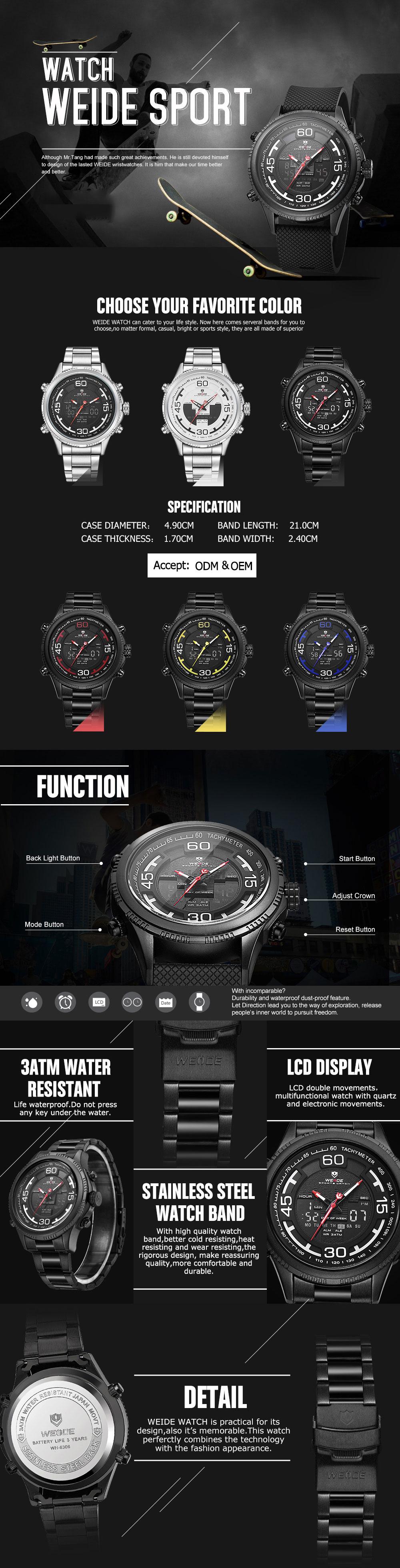 WEIDE 6306 Calendar Luminous Dual Display Digital Watch