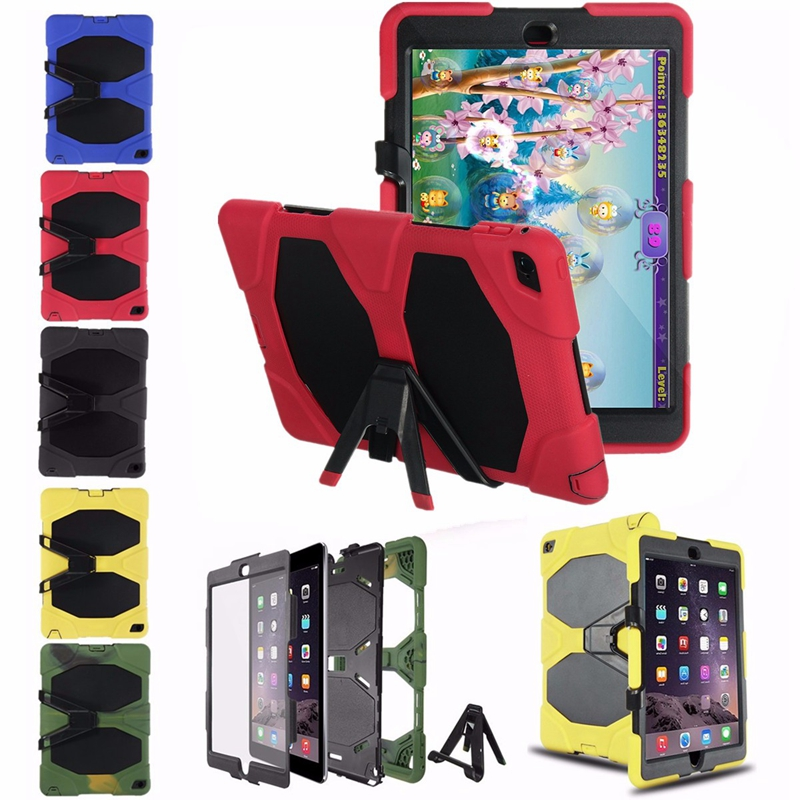 Heavy Duty Detachable Stand Holder Silicone Case For iPad Air 2
