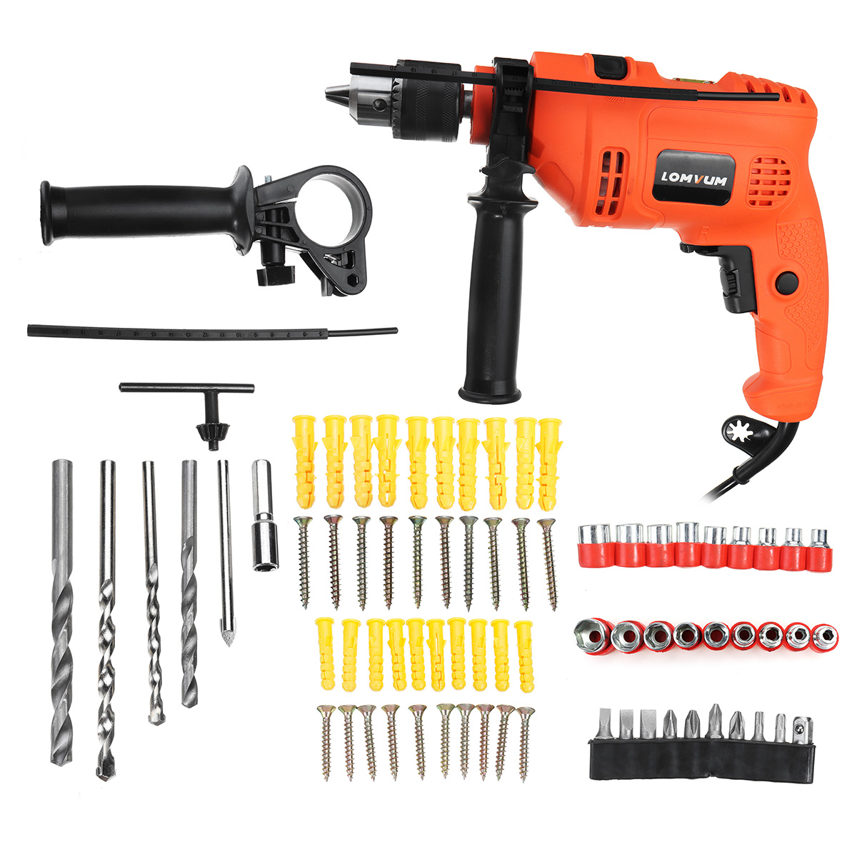 LOMVUM 220V Multi-function 600W Impact Drill Electric Screwdriver Angle Grinder Power Tools Kit