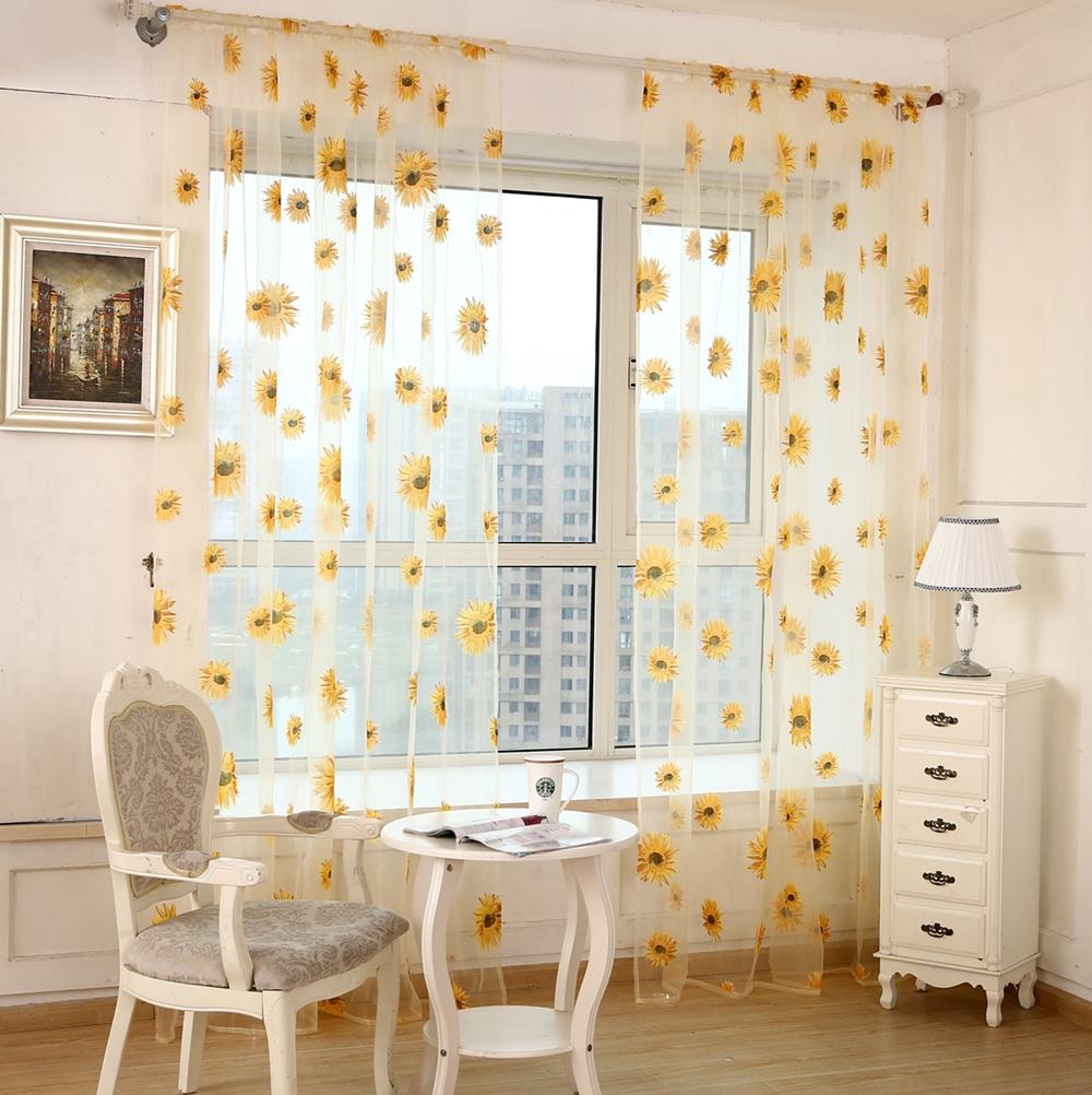 Honana WX-C4 1x2m Sun Flower Voile Curtain Transparent Panel Window Room Divider Sheer Curtain Home Decor