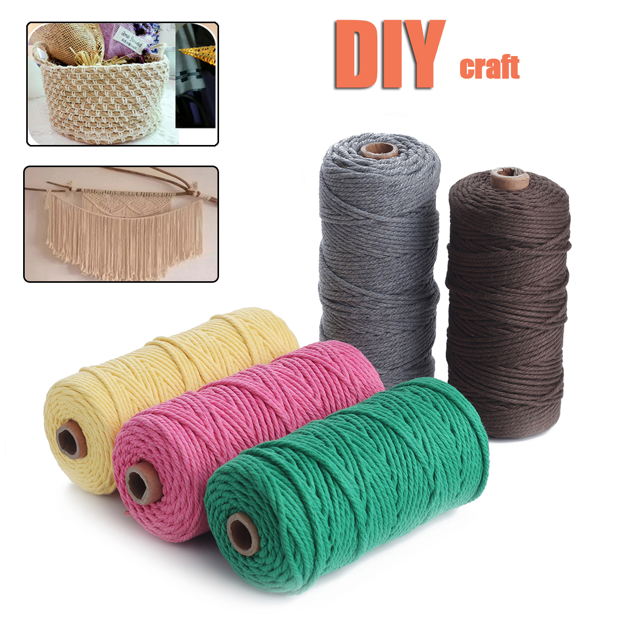 5 Colors 3mm 100m Cotton Twisted Cord Rope Macrame String DIY Braided Wire Craft Natural Color