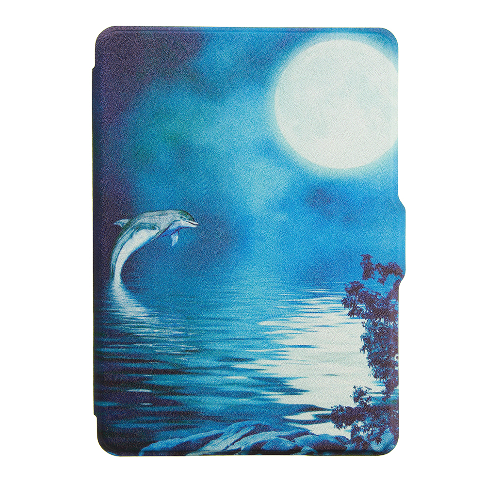 ABS Plastic Deep Sea Dolphins Painted Smart Sleep Protective Cover Case For Kindle Paperwhite 1/2/3 eBook Reader
