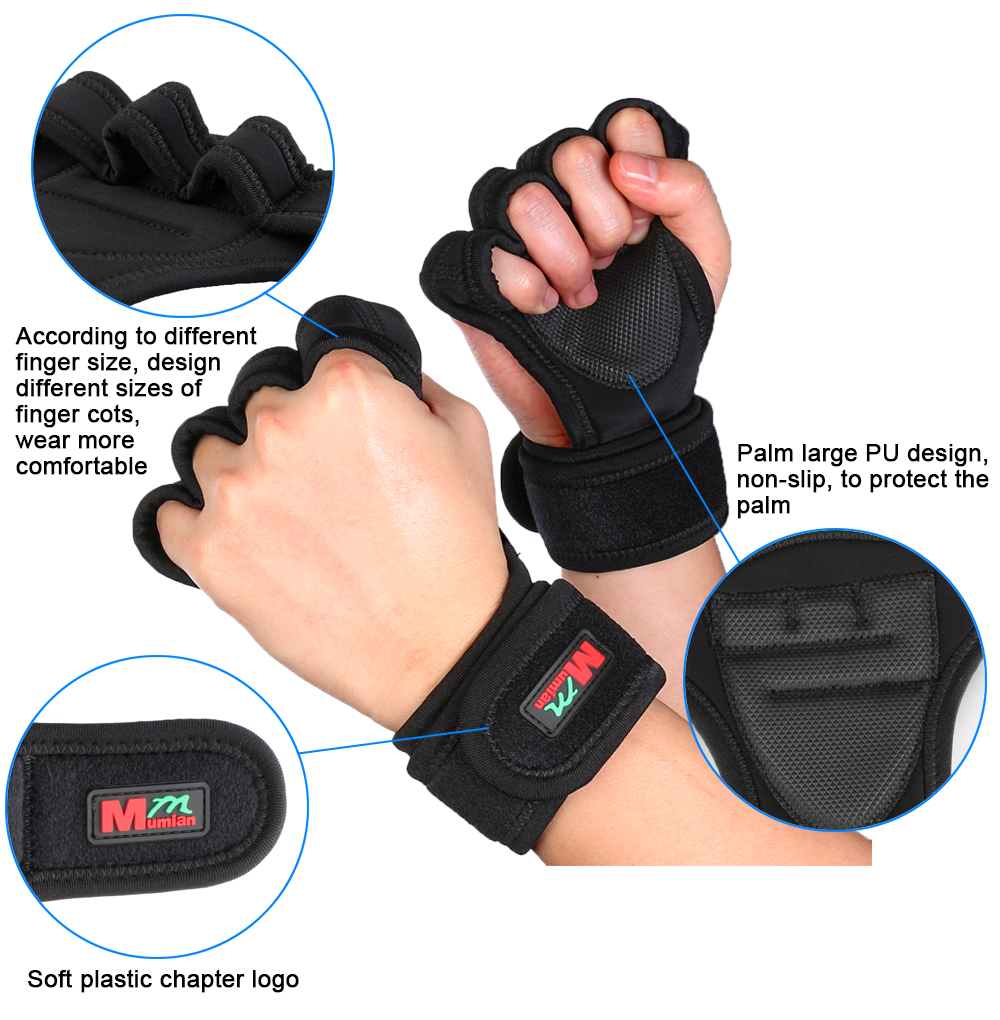 Mumian F02 Gym Cycling Fitness Half Finger Sports Gloves - 1 Pair