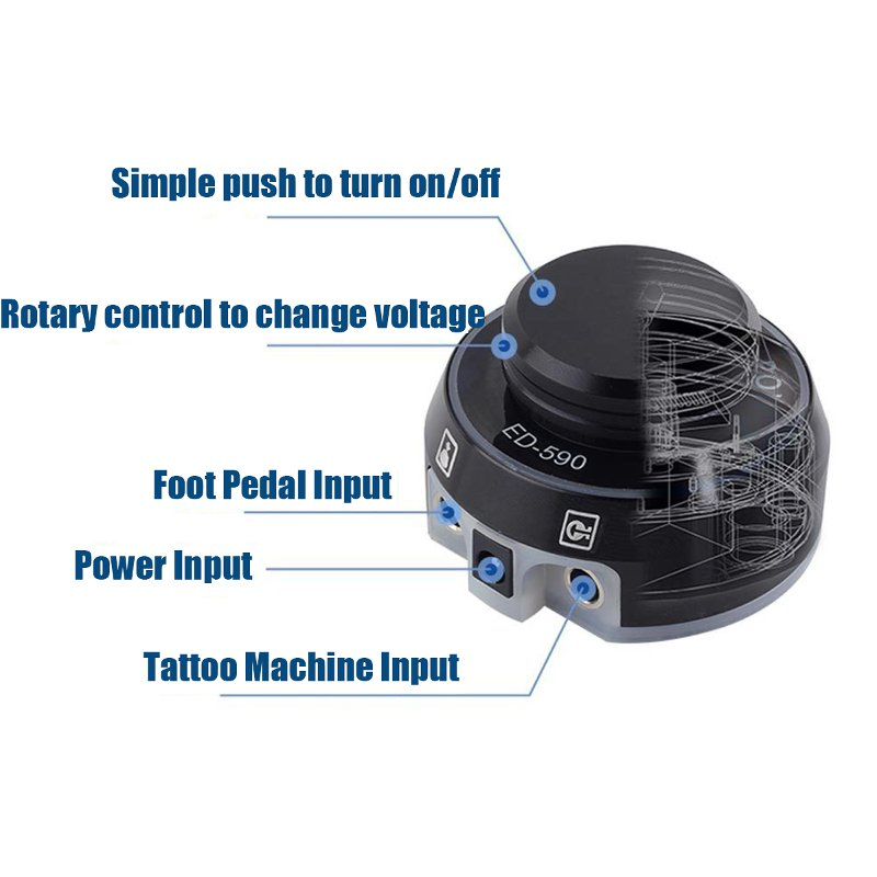 ED- 590 Machine Tattoo Power Supply Aluminium Rotary Control Foot Pedal Switch