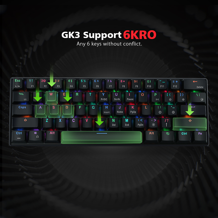 MantisTek® GK3-61 bluetooth Wired Dual Mode Cherry Switch RGB 60% Mechanical Gaming Keyboard