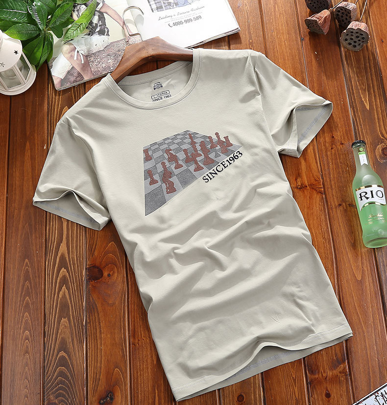 Summer Mens Stylish Letter Printed T-shirt Soft Cotton O-neck Short Sleeve Casual Top Tee