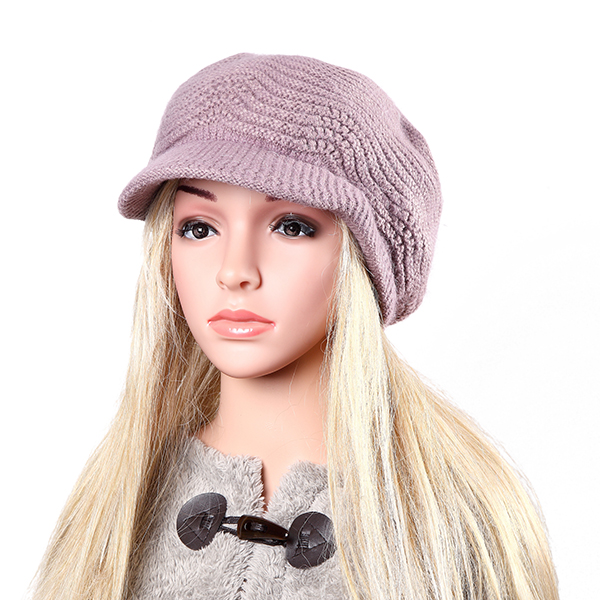 Women Ladies Faux Rabbit Fur Knitted Crochet Baseball Cap Fleece Lining Knitting Elastic Baggy Hat