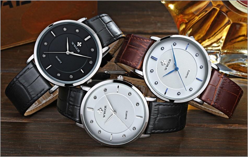 WWOOR 8011 Quartz Watch Water Fire Resistant Gentleman Business Leather Men Wristwatch