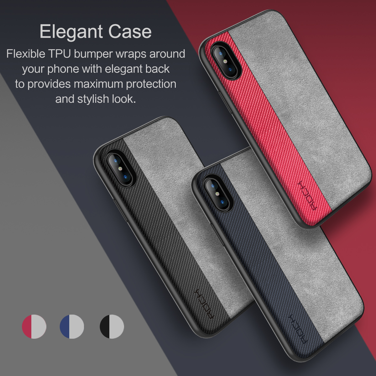 Rock Slim Hybrid Color PU+TPU Case For iPhone X