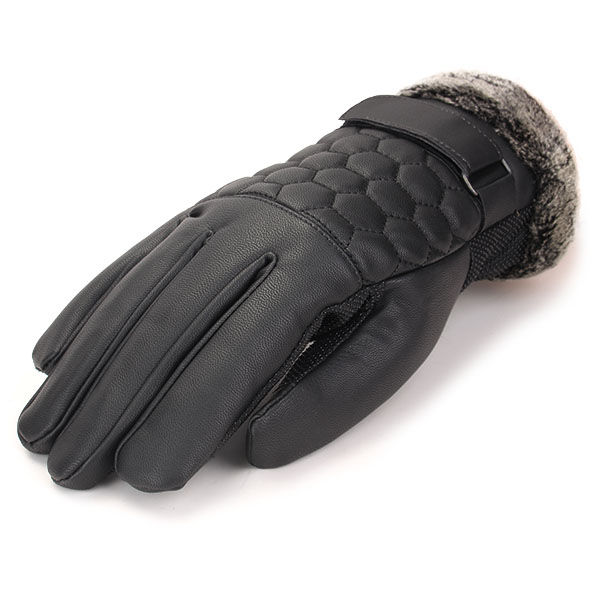 Men Male PU Leather Grid Driving Gloves Screen Touch Coral Fleece Linen Skidproof Windproof Mittens