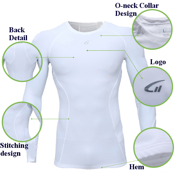 Mens Fitness Compression Tight Quick Drying Sport T-shirts Gym Training Long Sleeve T-shirt