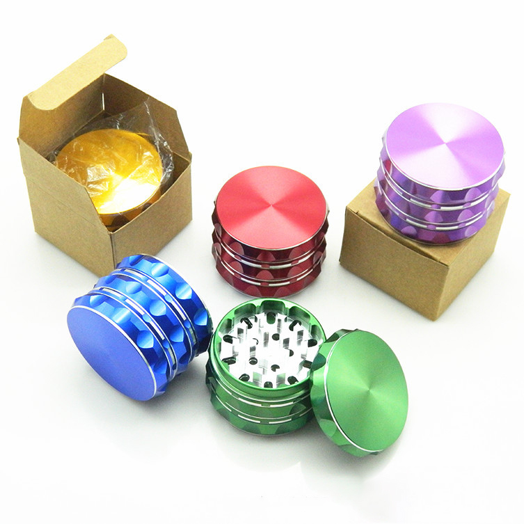 63mm 4 Piece Tobacco Herb Grinder Metal Spice Crusher Zinc Alloy Pollen Catcher Smoking Accessories