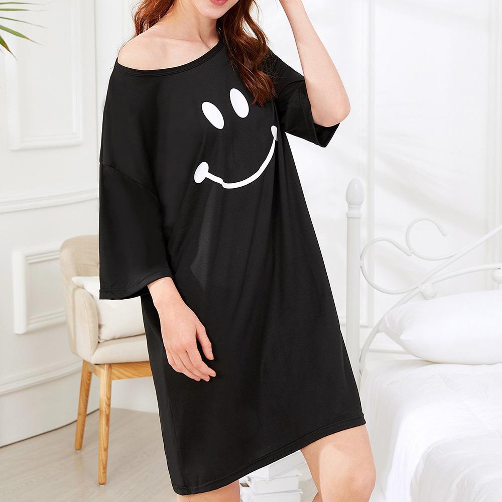Milk Silk Women Loose Smile Printing Comfortable Pajamas