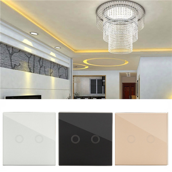 Luxury Crystal Touch Panel 2 Ring LED Wall Samrt Switch Socket Plate