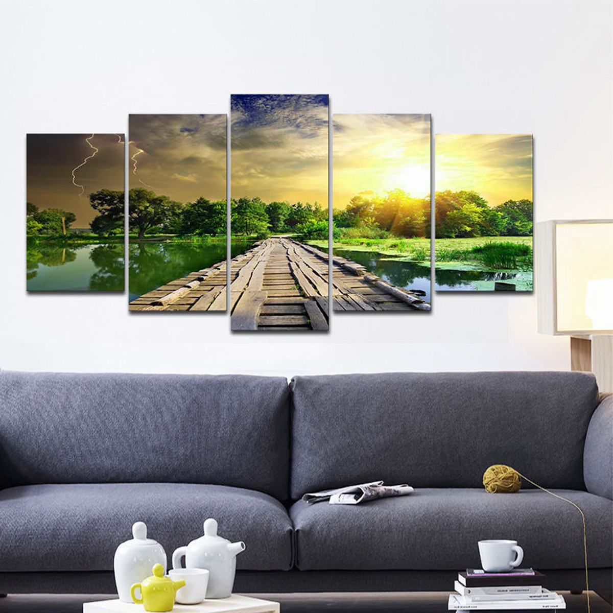 5Pcs Modern Art Printing Lake Landscape Poster Canvas Painting Home Wall Decor
