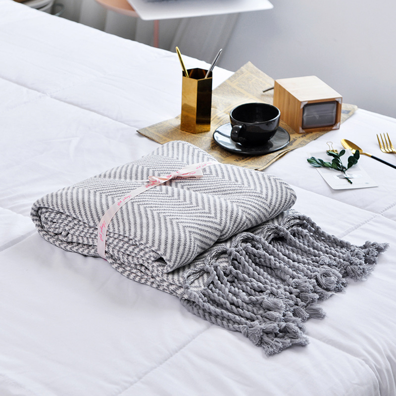 Nordic Style Herringbone Various Colors Tassel Cotton Knitted Blanket Towel for Home and Travel