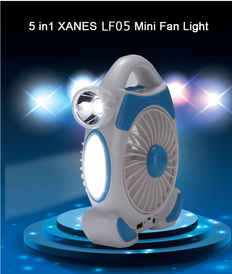 5 in1 XANES LF05 USB Rechargeable Multi-function for Table Lamp + Outdoor Flashlight + 1800mAh Power Bank + 3Files Mini Portable Fan