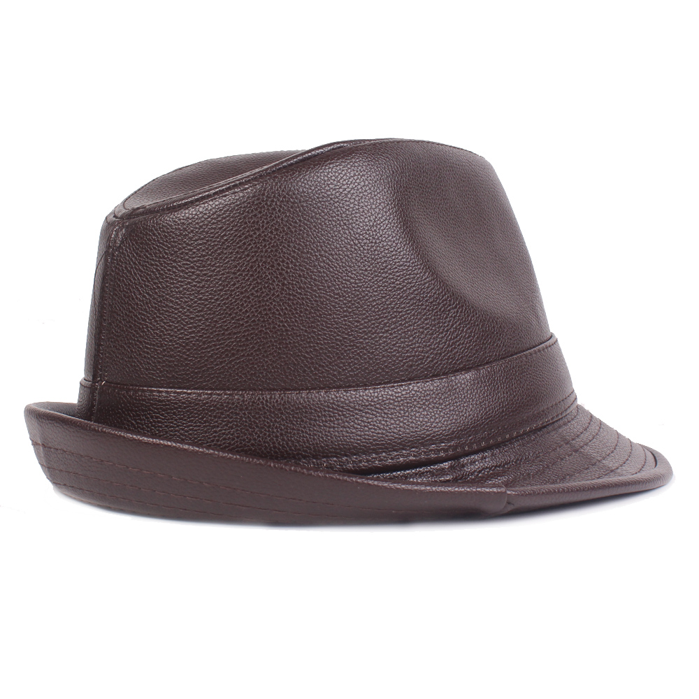 Men Middle-Aged PU Leather Jazz Hat Grandpa Bowler Hat