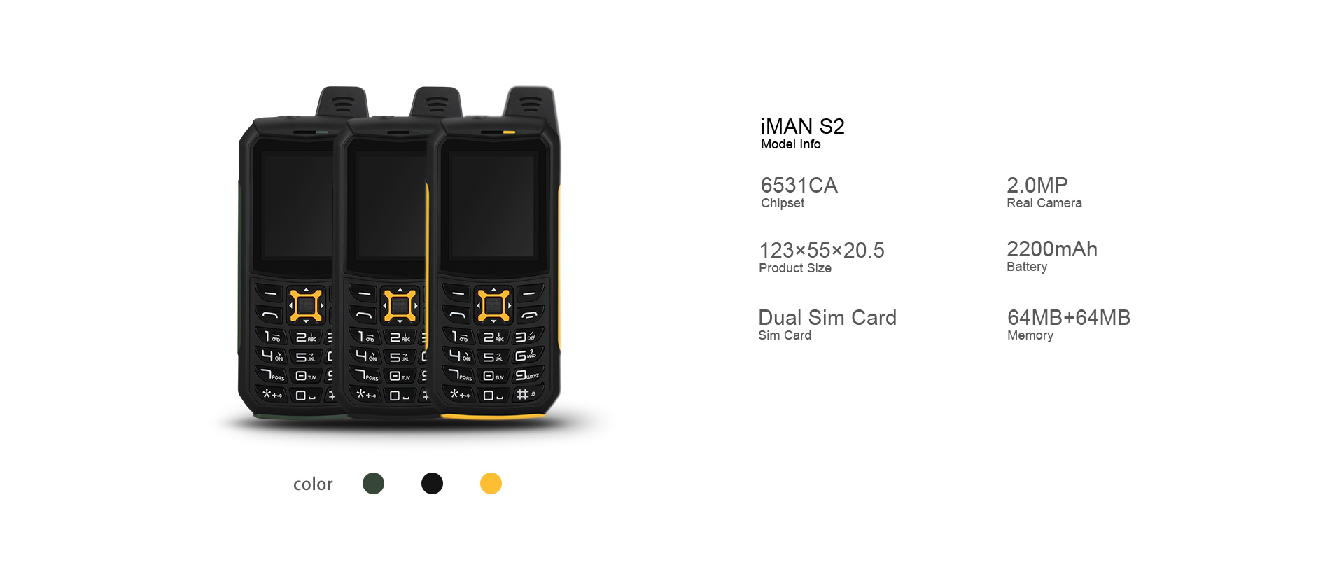 iMAN S2 IP68 2-inch 2200mAh Dual SIM Card bluetooth Waterproof Outdoors Feature Phone